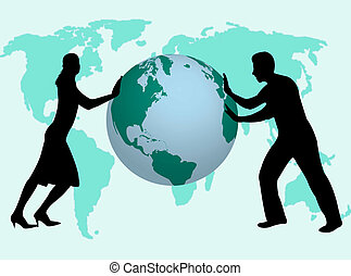 Business people in the world - Business man and woman...