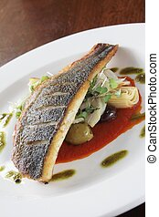 sea bass meal - cooked sea bass meal