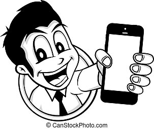 cartoon guy holding phone character vector illustration