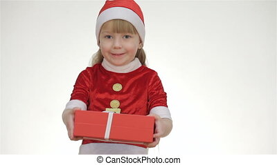 Kid girl offering a gift in a red box