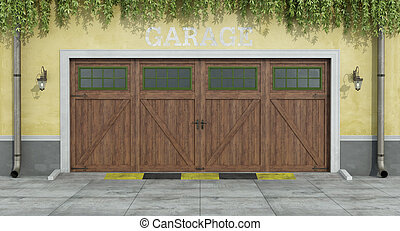 classic two car wooden garage
