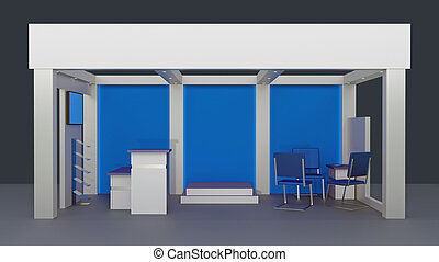 empty booth space trade - Render commercial stands, display...