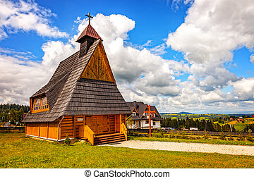 Small wooden church near Zakopane on Gubalowka, Poland.