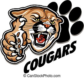 cougars mascot team design with mascot head and large claw