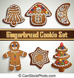 Gingerbread cookie set - Gingerbread bell half moon tree man...