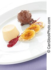 plated dessert pudding