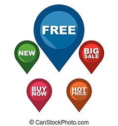 set vector map pointer / blue pin free / green pin new / red pin big sale / purple pin buy now / orange pin hot price