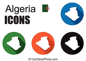 set colorful map flat icons state algeria - This is set...