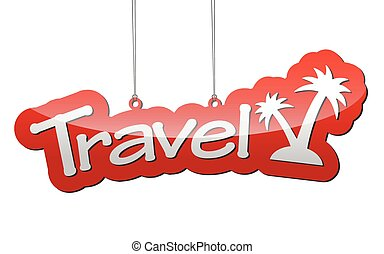 red vector background travel with icon travel