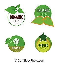 organic icon green circle vector illustration