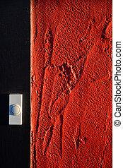 drzwi, dzwon, ściana, Niezależnie, biały, czerwony