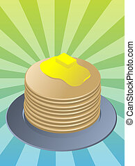 Stack of pancakes, breakfast fllapjacks on blue plate