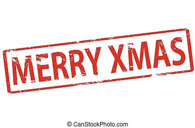 Merry Xmas - Rubber stamp with text Merry Xmas inside,...