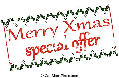 Merry Xmas special offer - Rubber stamp with text Merry Xmas...