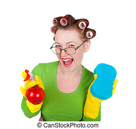 woman maid cleaner with sponge and spray