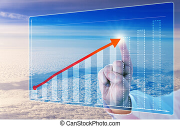 Finger Touching Growth Arrow In Forecasting Chart