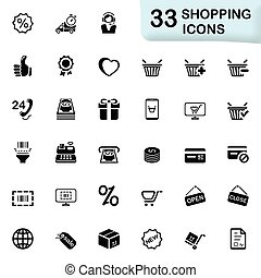 Shopping icons - Set of 33 icons for web and mobile...