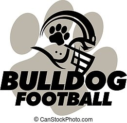 bulldog football team design with helmet and paw print in...