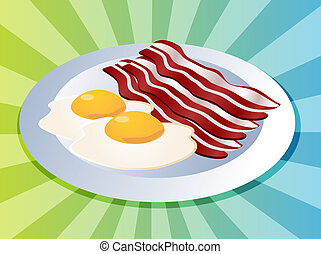 Bacon and eggs breakfast on plate illustration