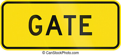 New Zealand road warning sign - Gate