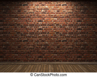 illuminated brick wall made in 3D graphics