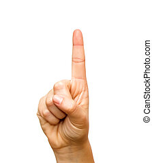 Hand pointing the index finger upwards Over White Background
