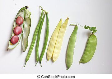 Beans and legumes - Variety of fresh organic legumes : green...