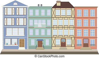 Four houses on the old street - Four houses like books on a...