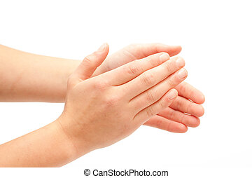 Clapping! Female hands clapping on white background