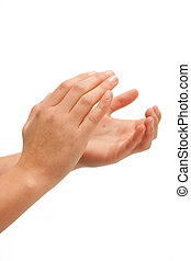 Clap clap Female hands clapping on white background