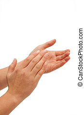 Hurra! Human hands clapping on white background