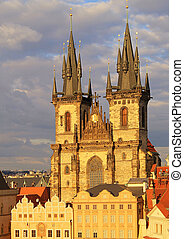 Church of Our Lady in front of Tyn, Prague, Czech Republic...