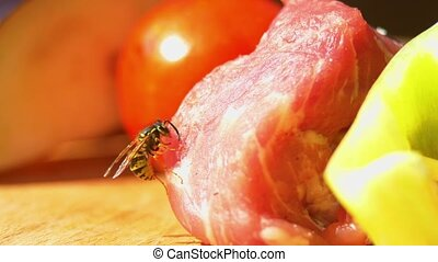 One wasp eats part of chicken or pork for barbecue on...