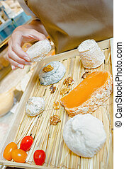 Selection of posh cheeses
