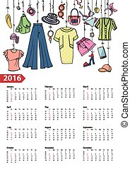 Calendar 2016 year.Summer fashion .Colored - Fashion...