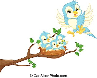 Flying bird and baby bird - vector illustration of Flying...