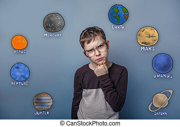 Teenage boy in glasses thinking thoughts of the planet