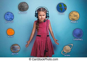adolescente, niña, en, auriculares, sorprendido,...