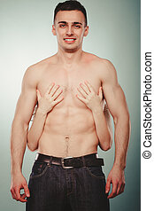 kvinna, räcker, halvt, par, naken, omfamna, sexig,  man
