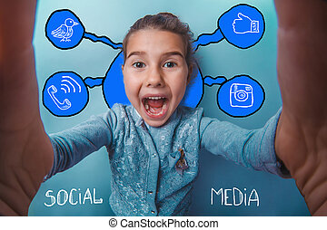 Self happiness girl child social media infographics sketch -...