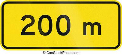 New Zealand road sign - 200 metres ahead