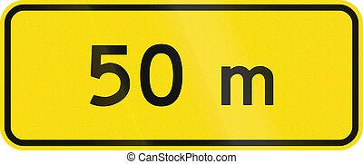New Zealand road sign - 50 metres ahead