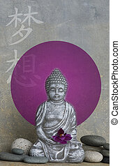 Buddha Statue - Buddha statue with illustration, chinese...