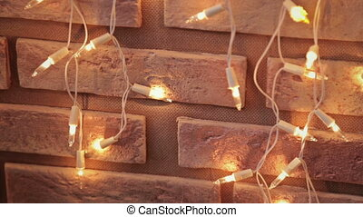 Christmas garland on fireplace, HD