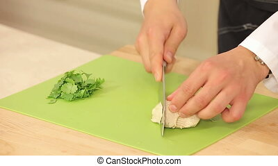 Chef is Cutting Boiled Turkey Fillet HD