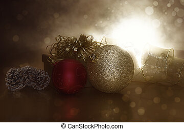 Retro styled Christmas image with decorations