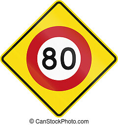 New Zealand road warning sign - Speed limit ahead