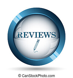 Reviews icon. Internet button on white background.