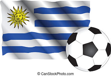 Uruguay - national flag of Uruguay with soccer ball