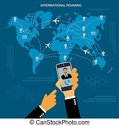 international roaming, flat vector illustration